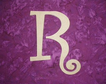"Unfinished Wood Letter R Wooden MDF Letters 6"" Inch Tall Curls"