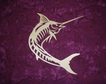 Marlin Fish Wood Cut Out Unfinished Wooden Sea Life Shapes