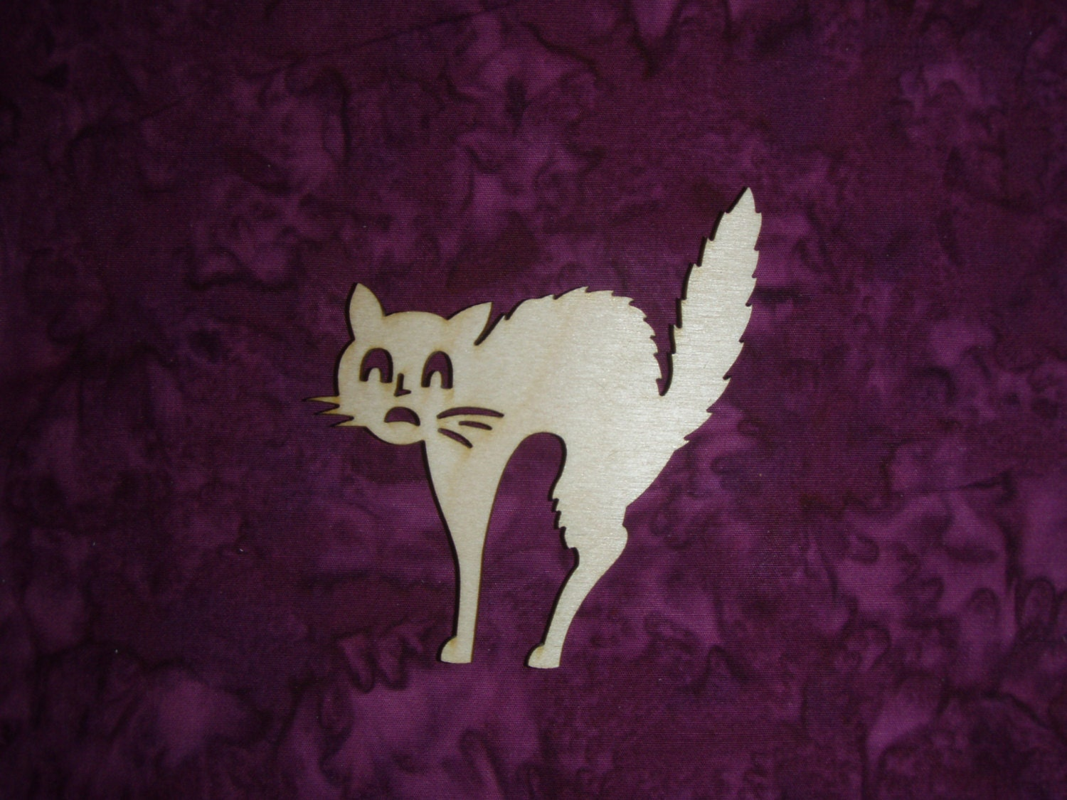 Scary Cat Shape Wood Cut Out Unfinished Wooden Halloween