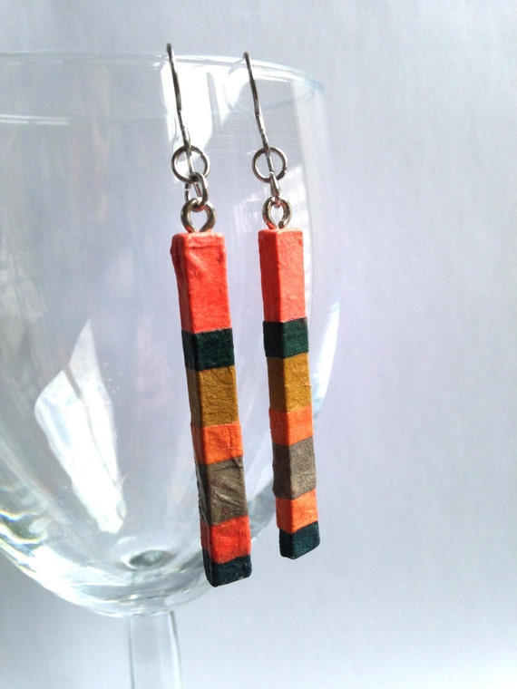 Coral Green Striped Hanji Paper Dangle Earrings