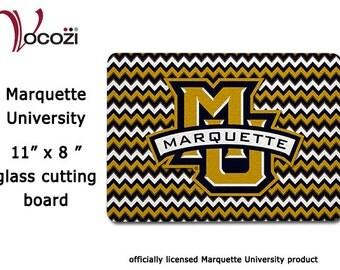 Marquette University Glass Cutting Board 8 in x 11 in   Chevron - Marquette MU Banner Logo