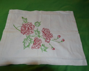 ON SALE  Vintage Dresser Scarf with Embroidery
