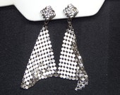 Vintage Silver Mesh Earrings Dangling Soft Mesh Chain Maille Clip Ons