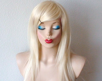Blonde wig. Straight blonde hair wig.  Durable heat resistant synthetic wig for daily use or Cosplay