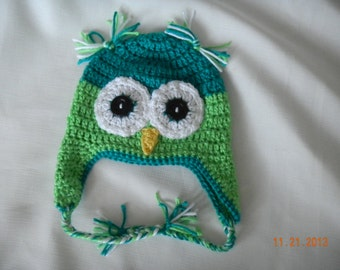 Turquoise and Green Crochet Baby Crochet Owl Hat.  Ear flaps with under the chin ties.