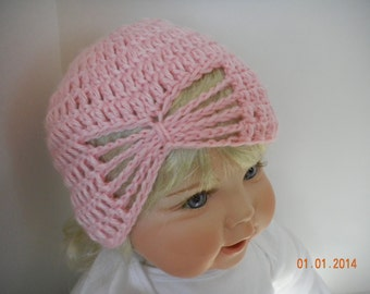 Baby Crochet Hat in Pink with open weave at the crown,  Soft acrylic yarn.