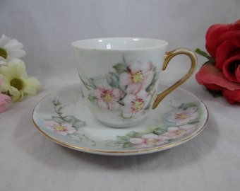 Vintage Hand Painted Limoges Teacup and Saucer Tea Cup