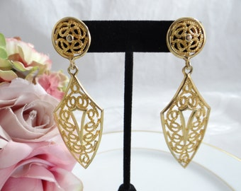 Gold Tone Filigree Dangle Pierced Earrings - So Lovely