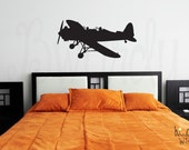 Boy's Airplane and Pilot Vinyl Decal- Wall Art Decoration- Nursery, Bedroom