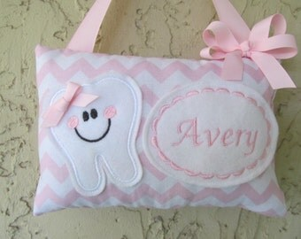 Tooth Fairy Pillow Pastel Pink Chevron Personalized