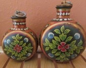 Reduced-Two hand painted lidded containers