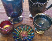 4 Piece Carnival Glass Collection   Reserved