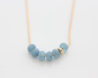 Blue Beads Necklace • Aqua quartz beads on gold necklace • Gift for her