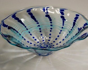 Hand Blown Glass - Clear and Blue Bowl with Foot