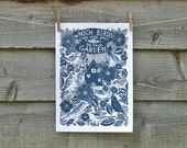 Garden birds A3 print, one colour, modern botanical with text.  Printed on archival paper.
