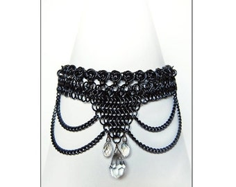 Handmade Black Chainmail Choker With Crystals
