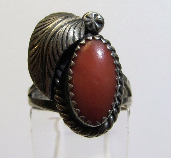 Vintage Sterling Coral Ring Size 7 1/2  Zuni Jewelry  Signed C Manning