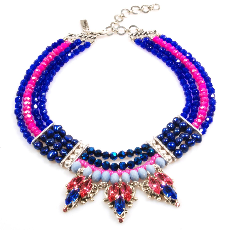 swarovski statement necklace in cobalt blue fuchsia unique