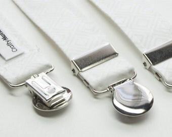 Suspenders - White Plaid Adjustable Suspenders