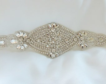 Wedding Bridal Sash Rhinestone Bridal Beaded Rhinestone Sash Wedding Sash