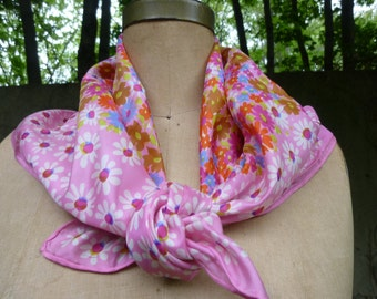 Mod Scarf Vintage Silk Scarf by Glentex Made in Japan Pink Floral Daisy Scarf Square1970s