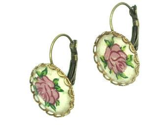 Rose flower earrings, romantic gift wife earrings, cute earrings gift-for-her, vintage earrings wedding, flowers earrings, botanical jewelry