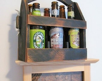 Ten Wood 6 Pack Bottle Carriers in antique black. Economy type.