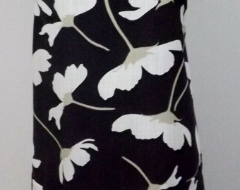 Black with White Flowers Apron