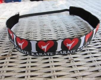 Black Karate Headband - Girls Sports Headband