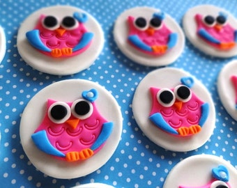 12 Fondant Edible Cupcake/Cookie Toppers - Owls for Birthday party/Baby shower, cute owls, baby owl, baby girl shower, fondant owl
