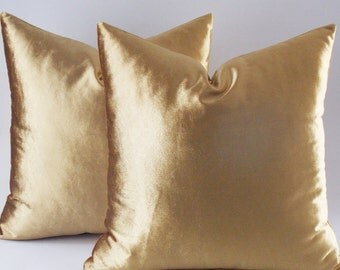 Set Of 2 / Velvet Solid Gold Pillow Covers, Decorative Velvet Pillows, Throw  Pillows
