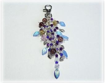 Blue leaves Keychain/keyring or bag/purse Charm