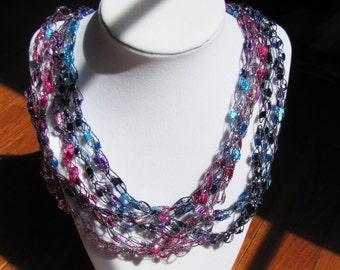 Crochet Scarf/Necklace Pink/Purple/Blue