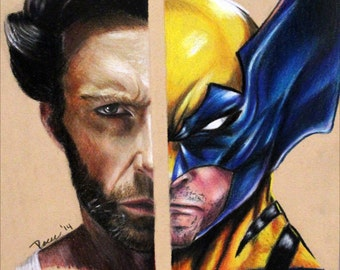 6in x 9In Print of a Reese Hilburn Original Prisma Colored Pencil Drawing: Wolverine/Hugh Jackman