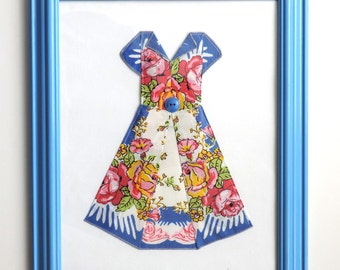 Vintage Hanky Dress Framed and Ready to Hang Wall Art