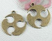 8pcs antiqued bronze color plaint style charms in 29mm EF0826