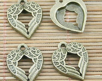 25pcs antiqued bronze wing heart charm pendents EF1267