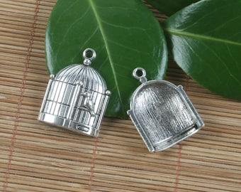 5pcs Tibetan silver bird and bird cage design pendant h0049
