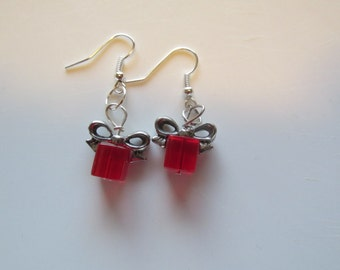 Red Christmas Present Earrings