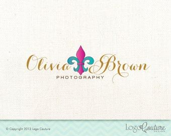 Premade Hand Drawn Fleur De Lis Logo - Your Name - Logo for a Photography Studio - Small Business - Photography Business