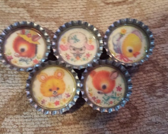 Vintage animals bottlecap magnets