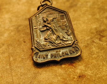 SAINT PHILOMENIA to those who invoke my aide devine favor and happiness silver religious amulet charm pendant Charm  antique no.8