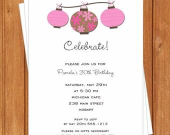 Pink Chinese Lanterns Invitation | Adult Birthday | Printable Editable Digital PDF File | Instant Download | ABI304DIY