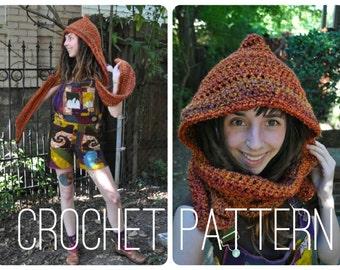 Crochet Pattern - Pixie Hooded Scarf