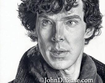 Drawing Print of Benedict Cumberbatch as Sherlock (2014)