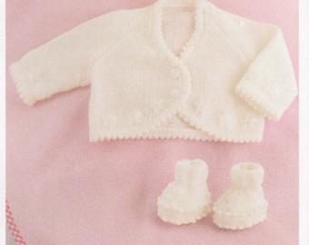 baby knitting pattern baby girls cardigan  prem 10 in chest to 18 in. dk