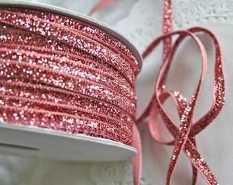 """Velvet  1/4"""" Ribbon, Glitter VINTAGE ROSE PINK"""