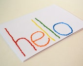 """hand embroidered, rainbow """"hello"""" greeting card"""