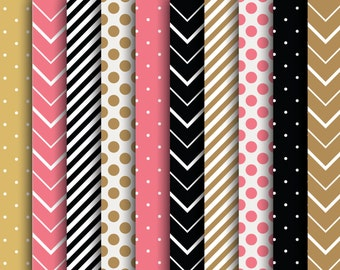 60% OFF SALE  Digital Papers  Scrapbooking  Stripes  Polka Dots  Chevron  Pink, Black, Brown  Scrapbook Supplies  Papers