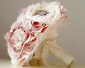 Wedding Brooch Bouquet,  Fabric Flower Bouquet,  Vintage Wedding,  Fabric Bridal Bouquet,  Weddings, Vintage Pink